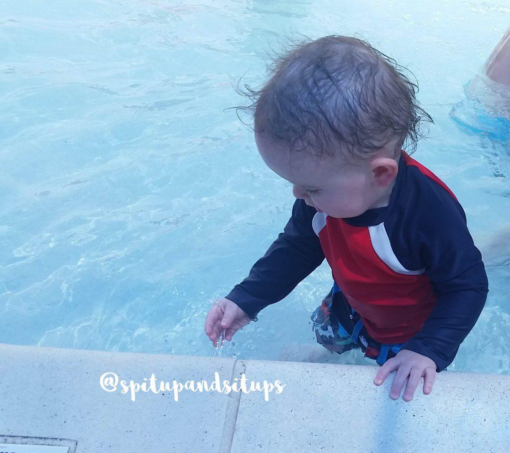 Ri enjoying the tot pool