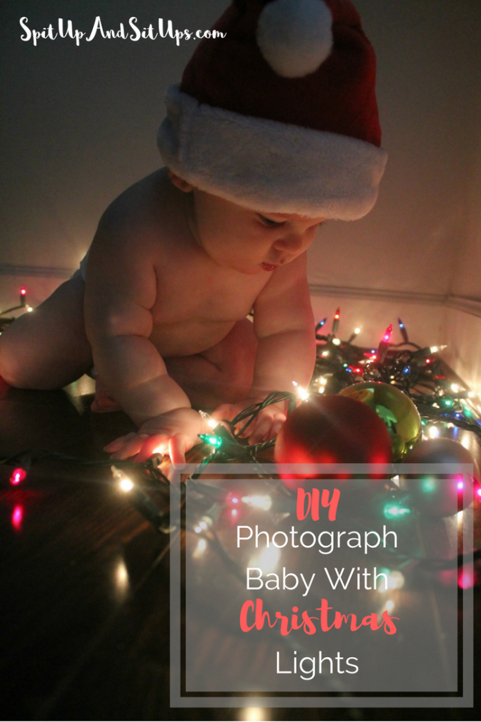 how to photograph baby with christmas lights, diy baby christmas pictures, DIY Photograph baby with Christmas lights, Christmas lights DIY photoshoot, photograph baby with lights, photograph baby with christmas lights, do it yourself photo with baby