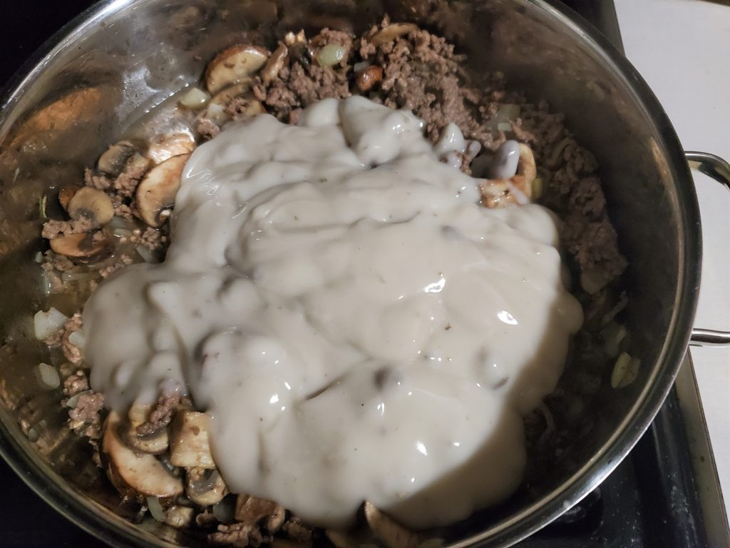 Weight Watchers Beef Stroganoff with cans of cream of mushroom