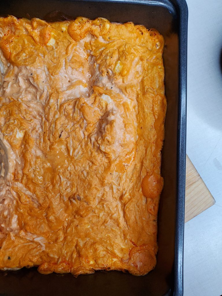 fresh out of the oven light buffalo chicken dip ww friendly