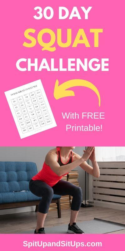 30 day free squat challenge pinterest image