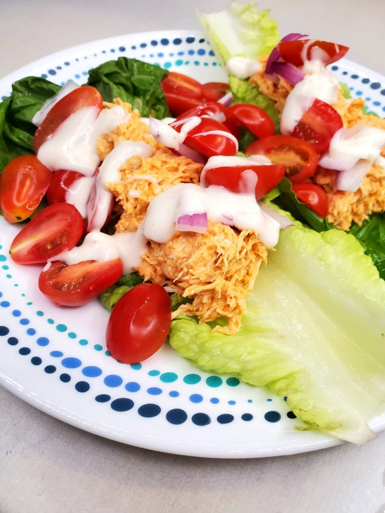 Easy low Carb Buffalo Chicken Lettuce Wraps up close