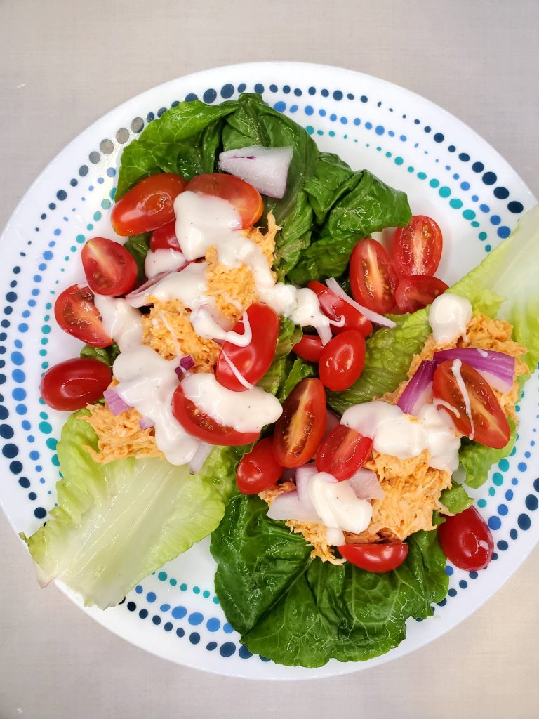 Easy low Carb Buffalo Chicken Lettuce Wraps plate