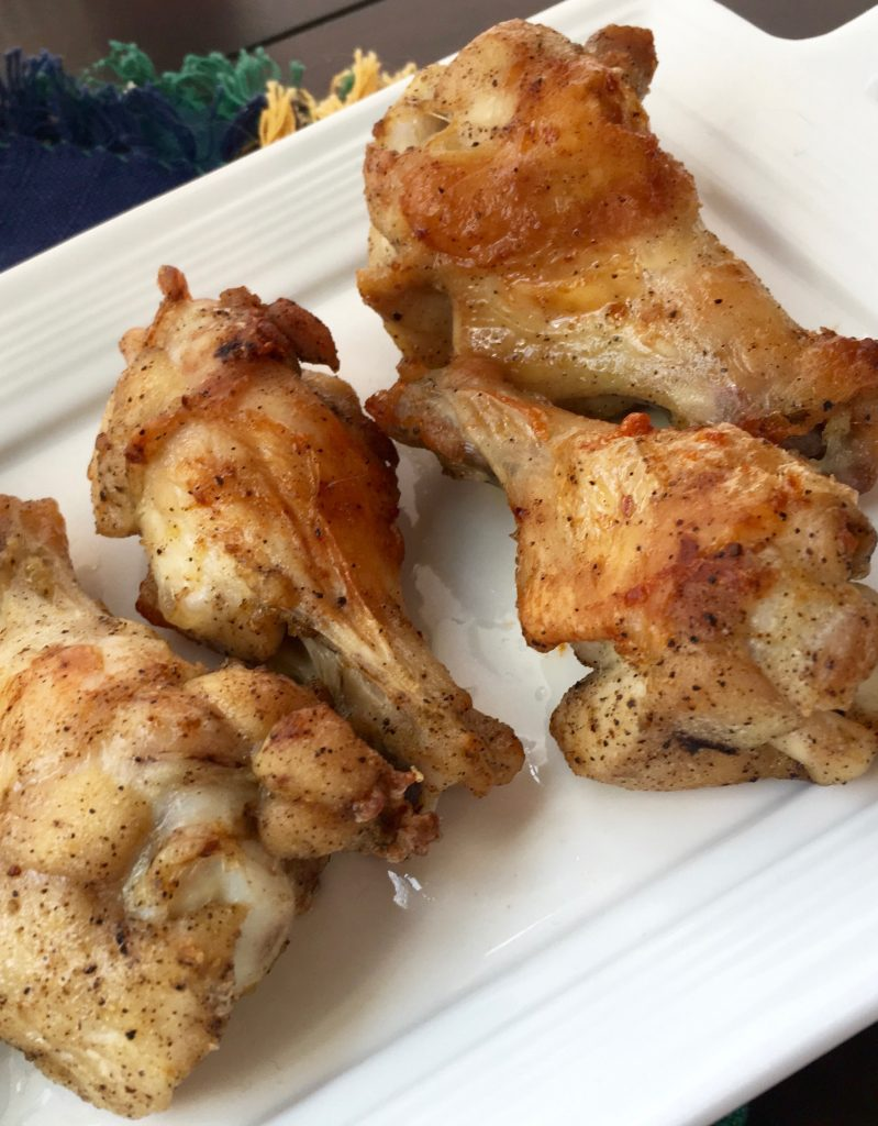 air fryer lemon pepper chicken wings suitable for keto, low carb, gluten free, and ww diets