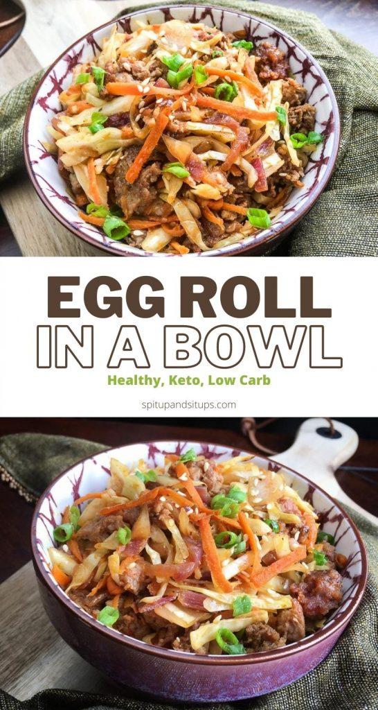 keto egg roll in a bowl pinterest image