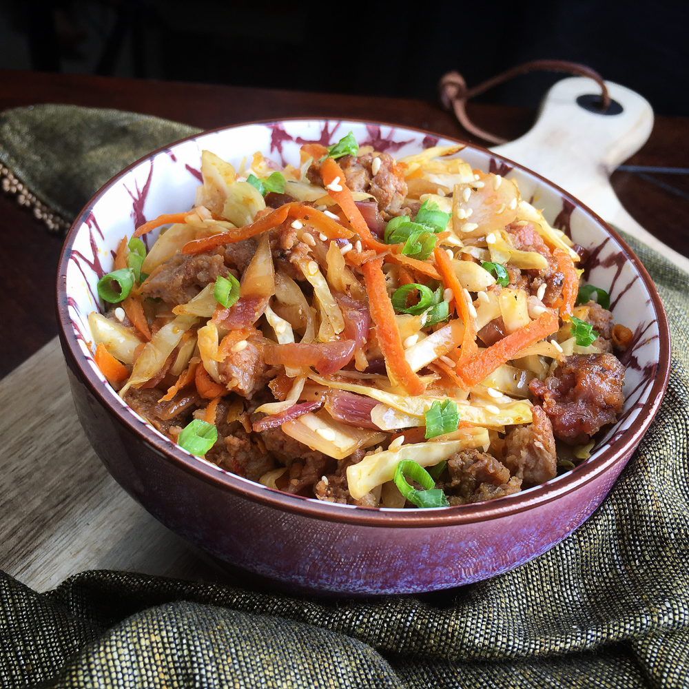 yummy low carb egg roll in a bowl