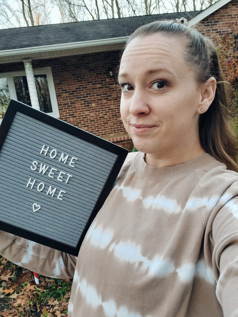 Home sweet home letterboard with house creditrepair.com