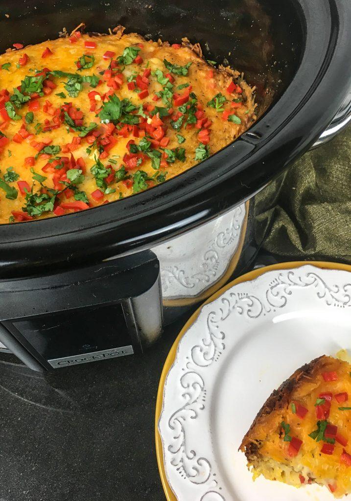 Crockpot Southwest Breakfast Casserole crockpot and plate