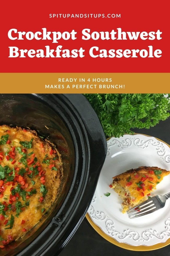Pinterest image for slow cooker breakfast casserole