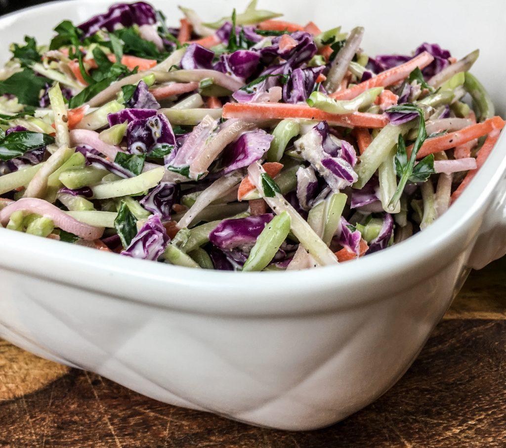 easy broccoli slaw salad delicious up close shot