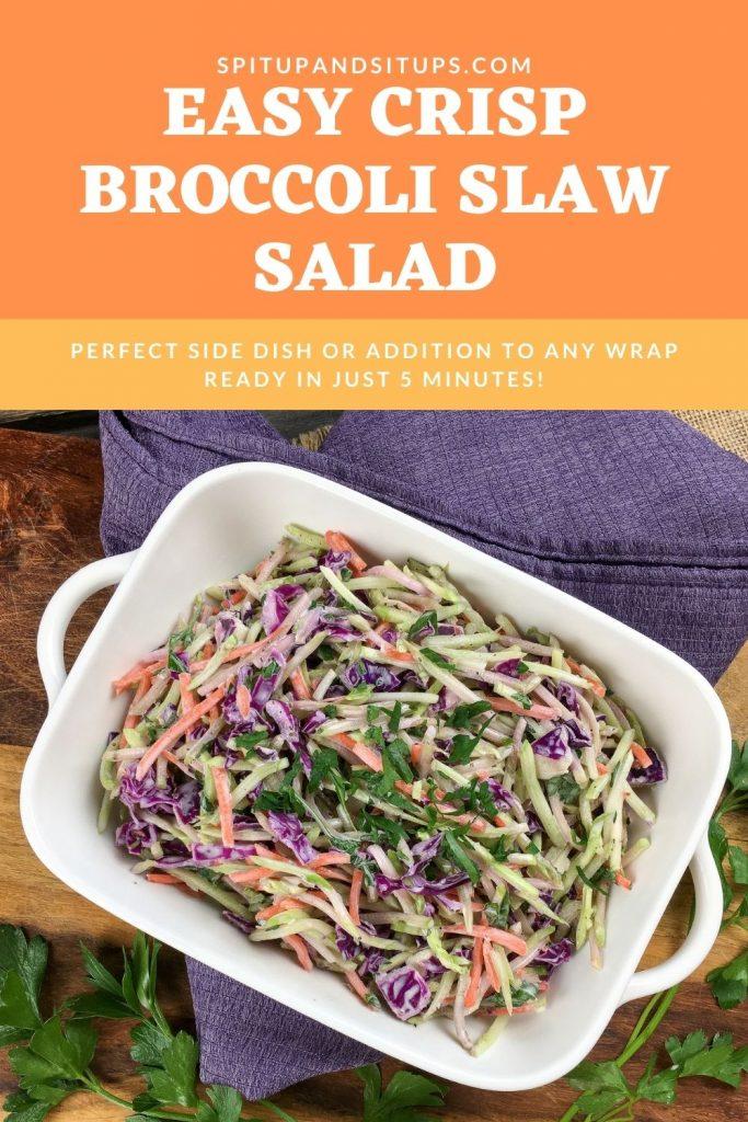 Easy crisp broccoli slaw salad pinterest image